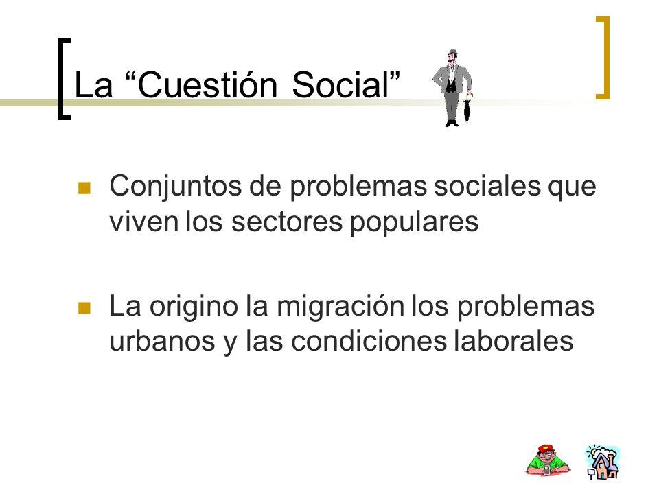 La Cuestión Social Conjuntos de problemas sociales que viven los sectores populares.