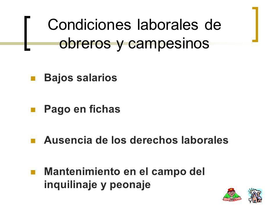Condiciones laborales de obreros y campesinos