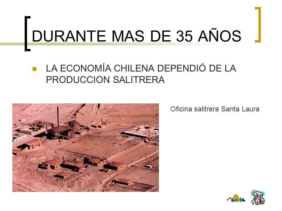 DURANTE MAS DE 35 AÑOS LA ECONOMÍA CHILENA DEPENDIÓ DE LA PRODUCCION SALITRERA.