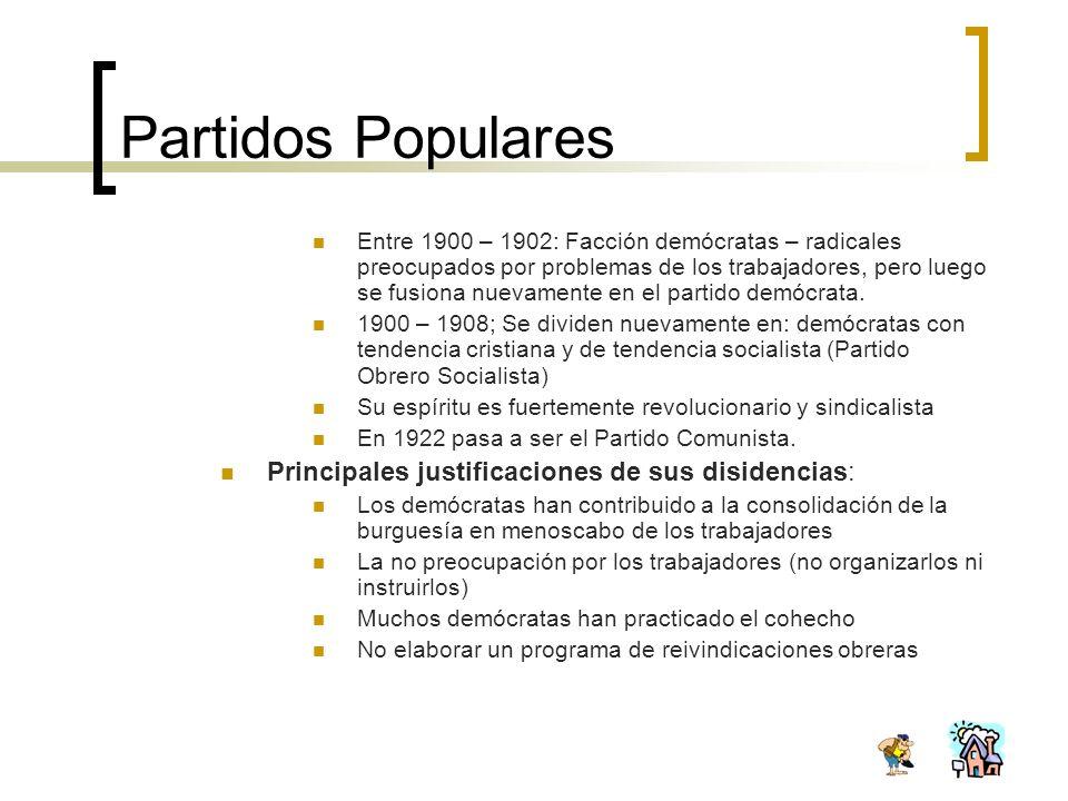 Partidos Populares Principales justificaciones de sus disidencias: