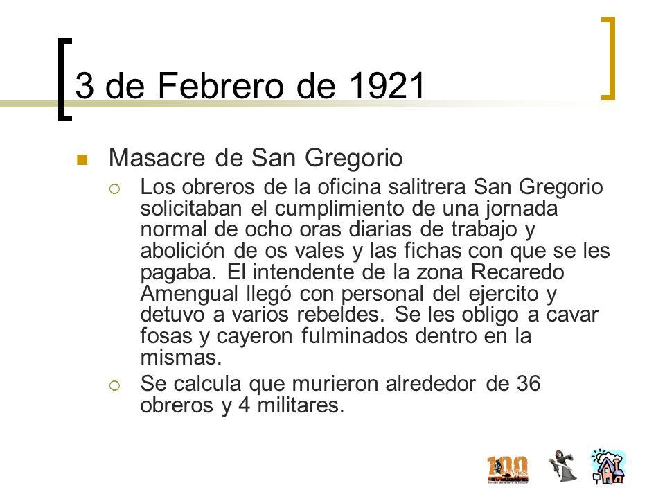 3 de Febrero de 1921 Masacre de San Gregorio