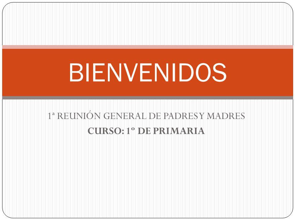 1ª REUNIÓN GENERAL DE PADRES Y MADRES CURSO: 1º DE PRIMARIA