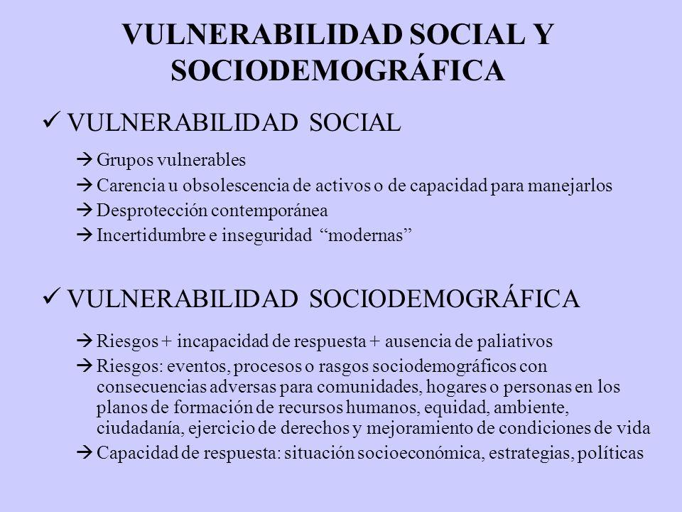 VULNERABILIDAD SOCIAL Y SOCIODEMOGRÁFICA