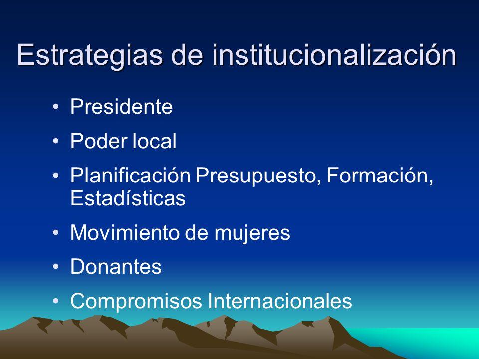 Estrategias de institucionalización