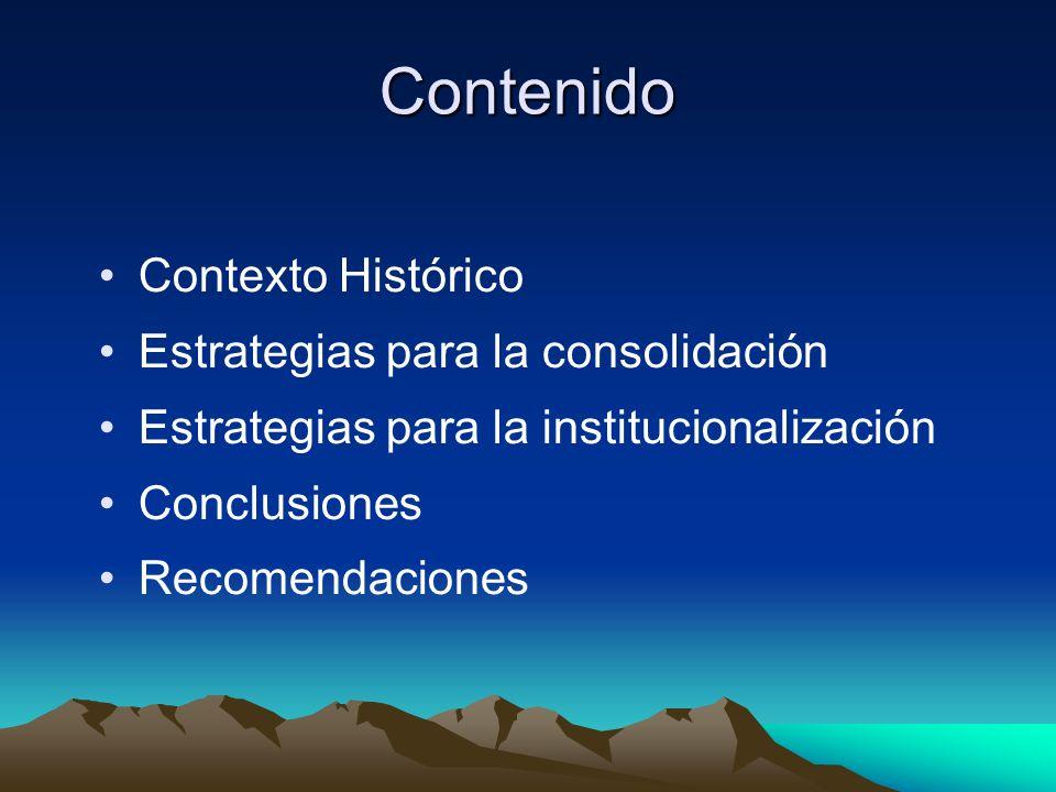 Contenido Contexto Histórico Estrategias para la consolidación
