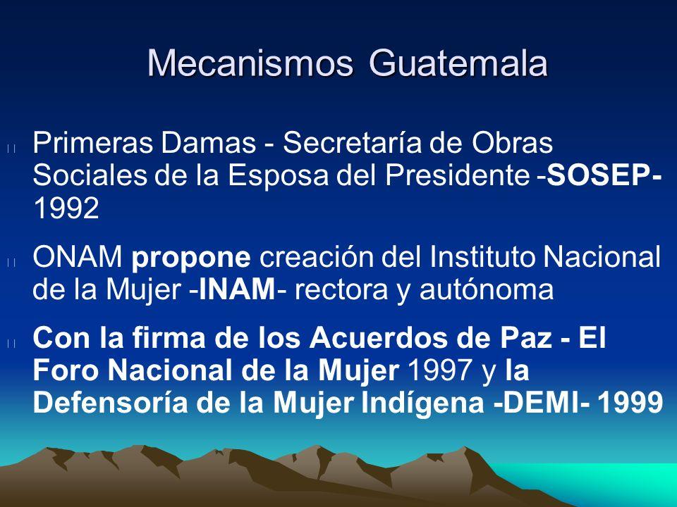 Mecanismos GuatemalaPrimeras Damas - Secretaría de Obras Sociales de la Esposa del Presidente -SOSEP- 1992.