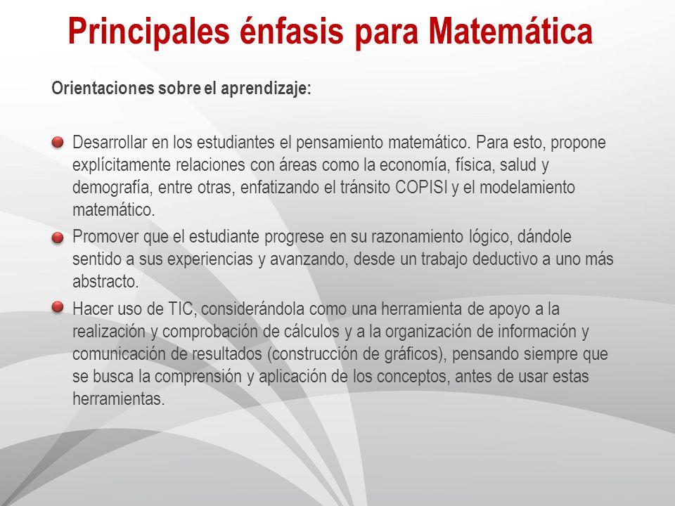 Principales énfasis para Matemática