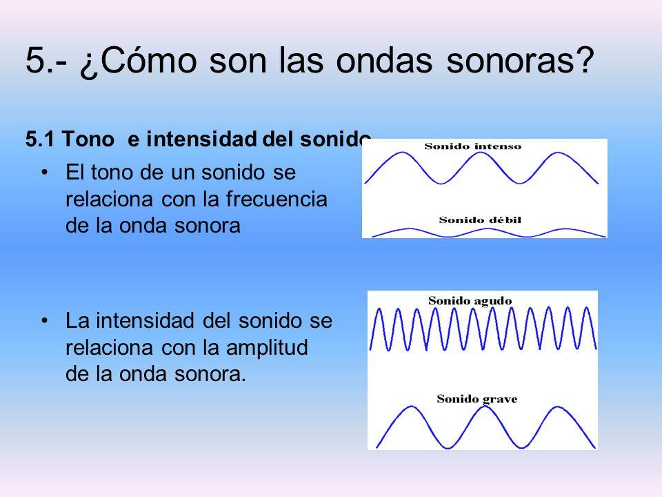 5.- ¿Cómo son las ondas sonoras 5.1 Tono e intensidad del sonido.