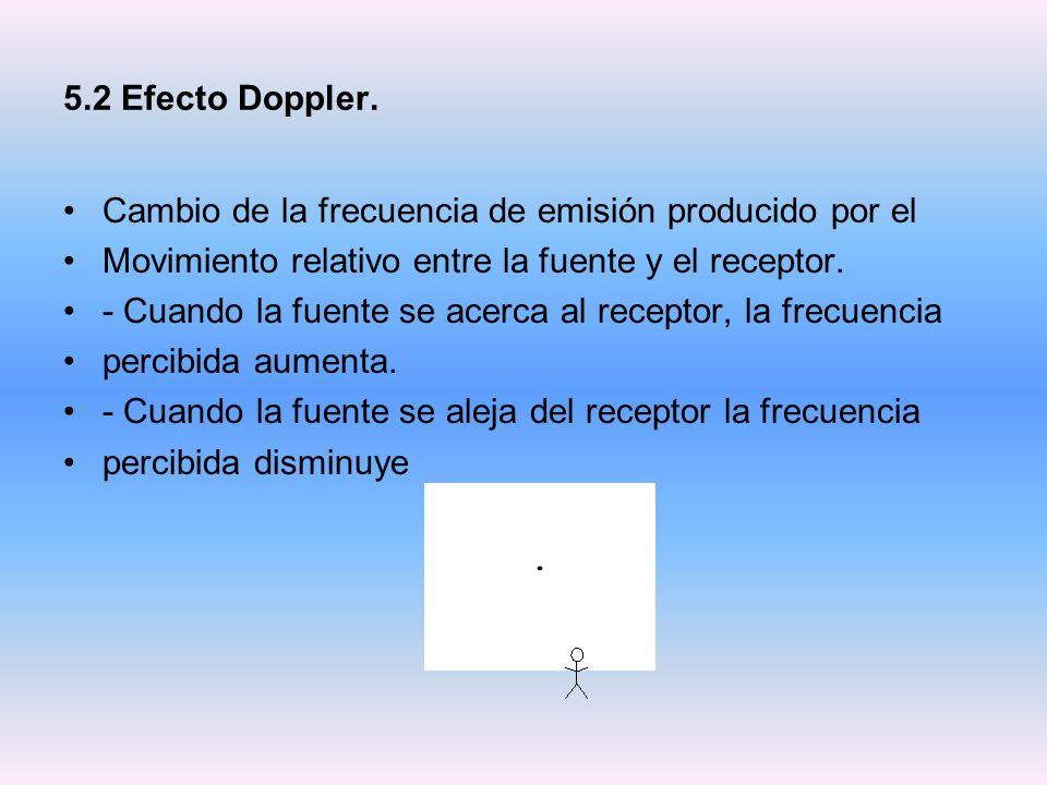 5.2 Efecto Doppler. Cambio de la frecuencia de emisión producido por el. Movimiento relativo entre la fuente y el receptor.