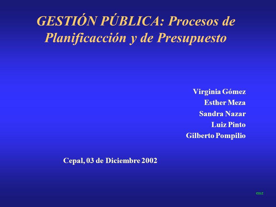GESTIÓN PÚBLICA: Procesos de Planificacción y de Presupuesto
