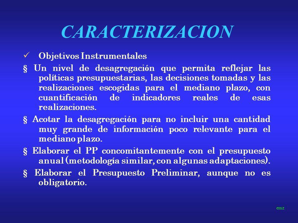 CARACTERIZACION Objetivos Instrumentales
