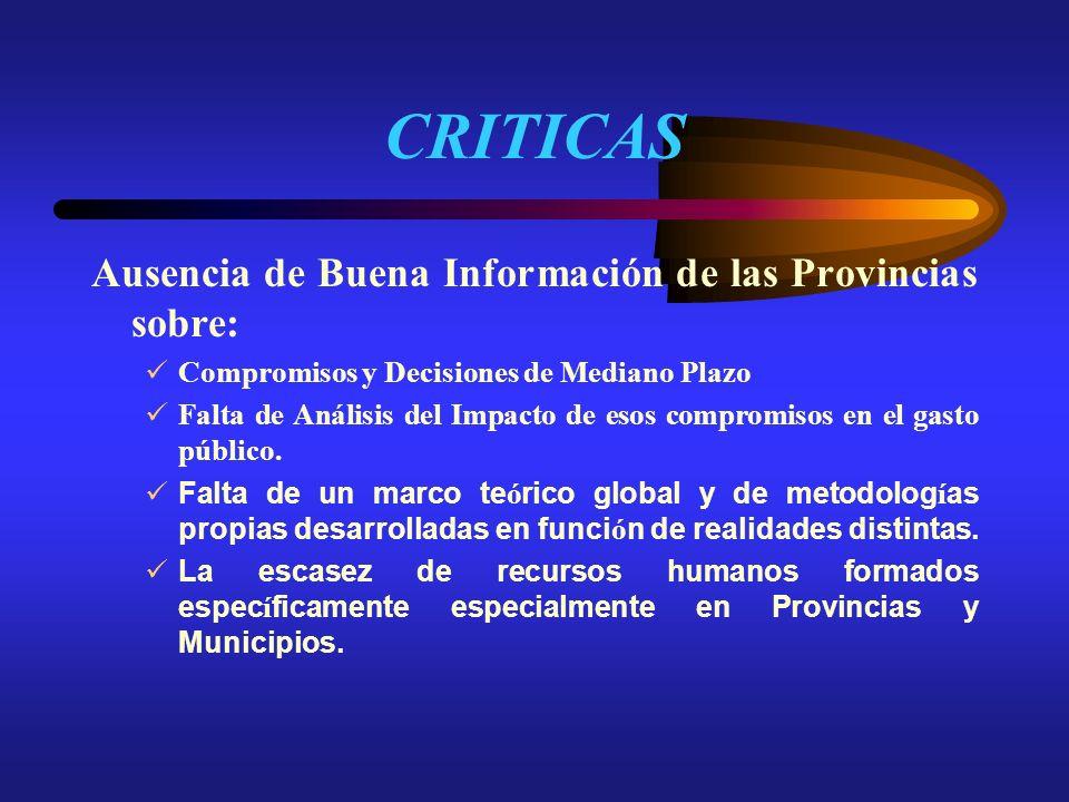 CRITICAS Ausencia de Buena Información de las Provincias sobre: