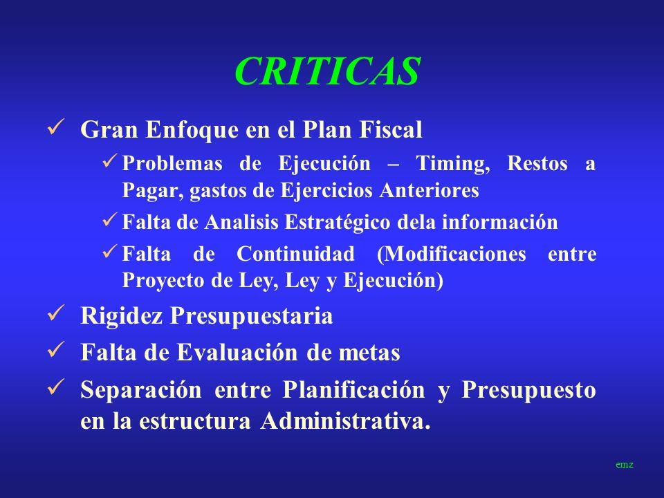 CRITICAS Gran Enfoque en el Plan Fiscal Rigidez Presupuestaria
