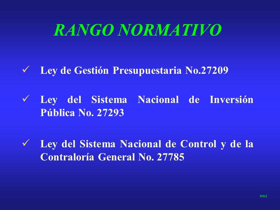 RANGO NORMATIVO Ley de Gestión Presupuestaria No.27209