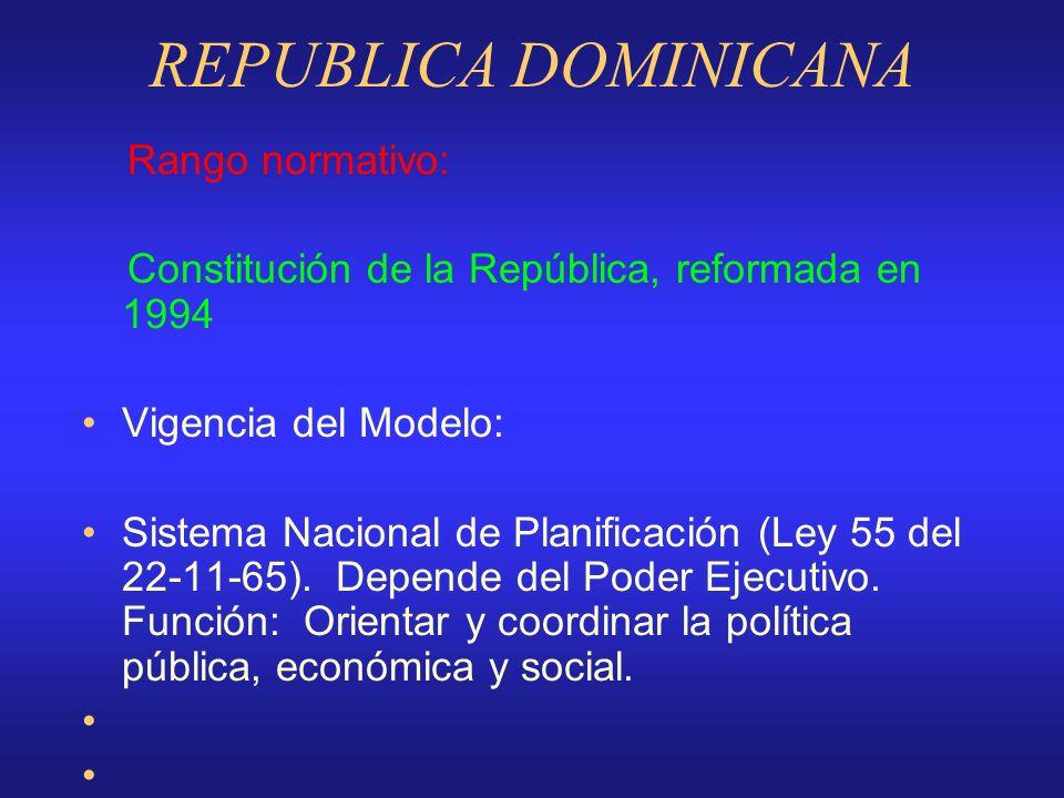 REPUBLICA DOMINICANA Rango normativo:
