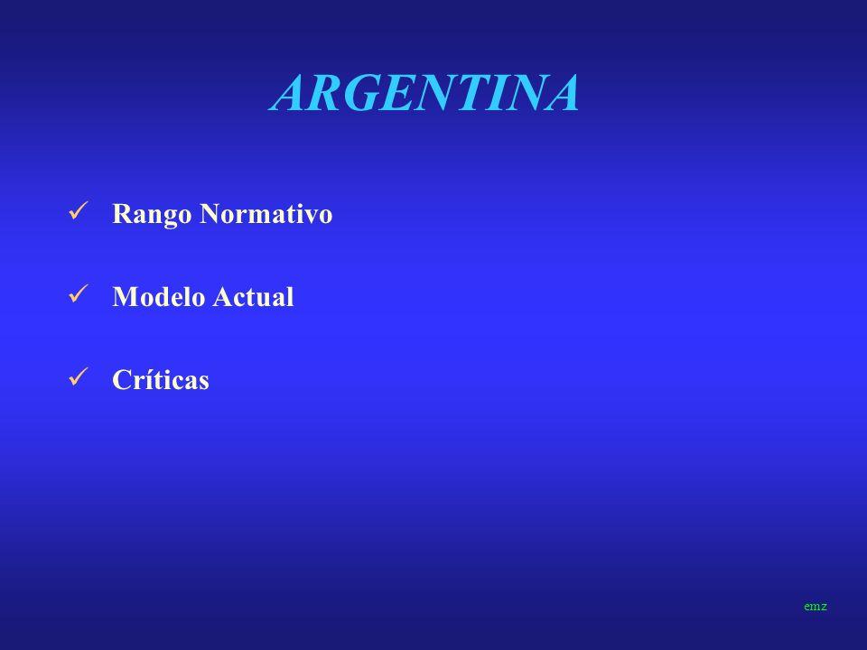 ARGENTINA Rango Normativo Modelo Actual Críticas emz