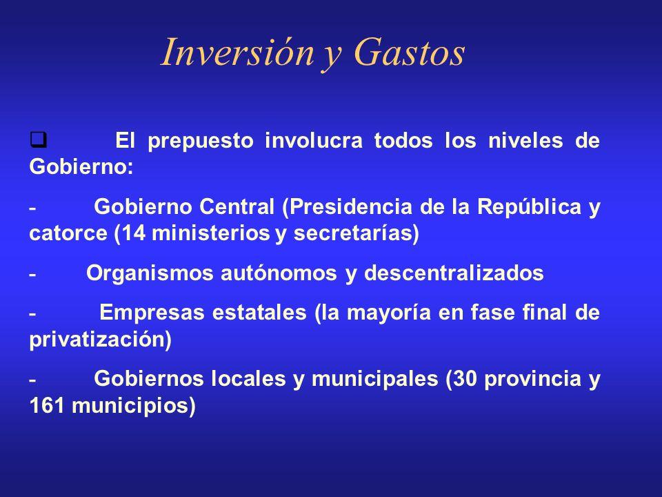Inversión y Gastos q El prepuesto involucra todos los niveles de Gobierno: