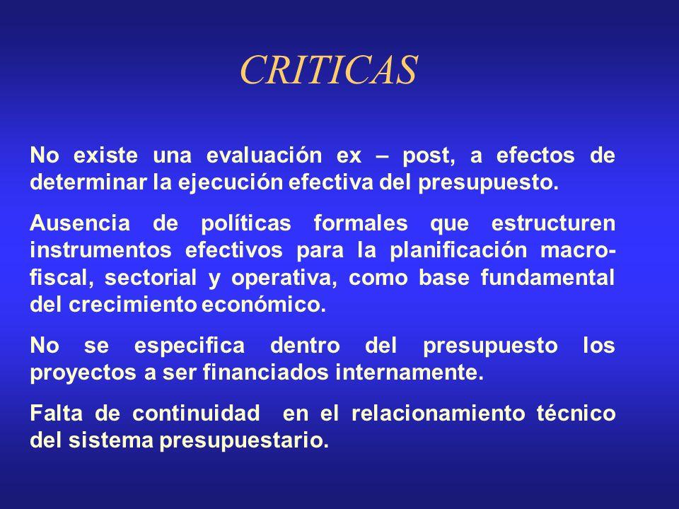 CRITICAS No existe una evaluación ex – post, a efectos de determinar la ejecución efectiva del presupuesto.