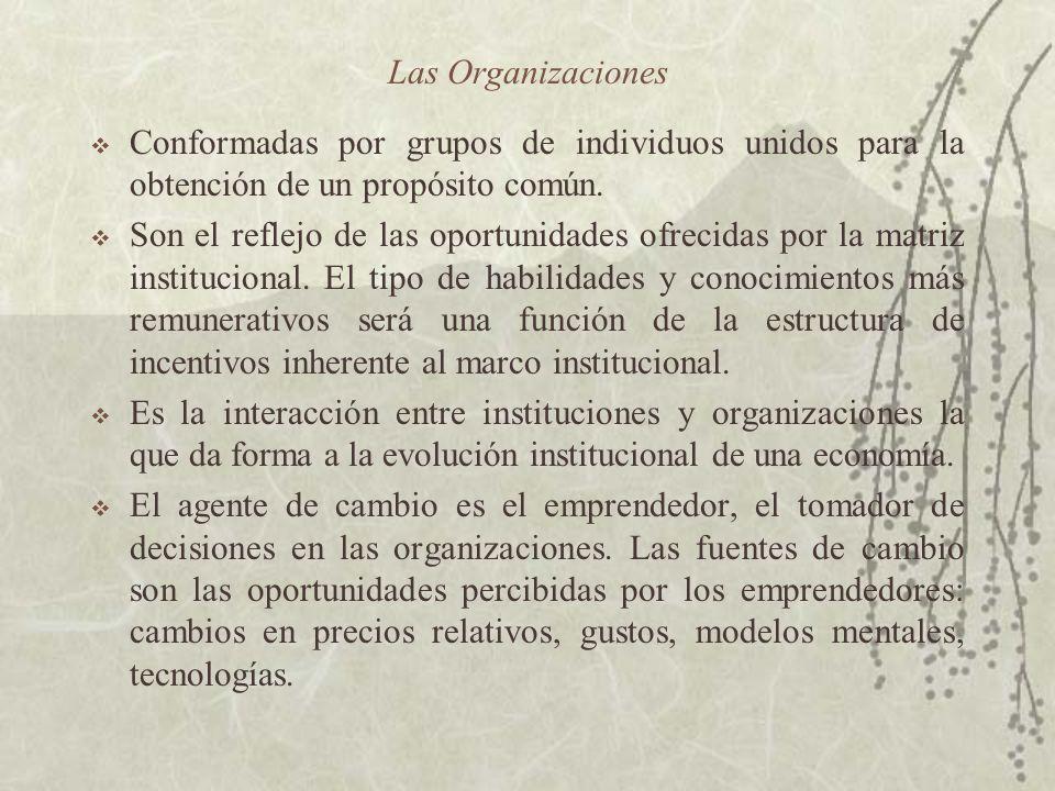 Las Organizaciones Conformadas por grupos de individuos unidos para la obtención de un propósito común.