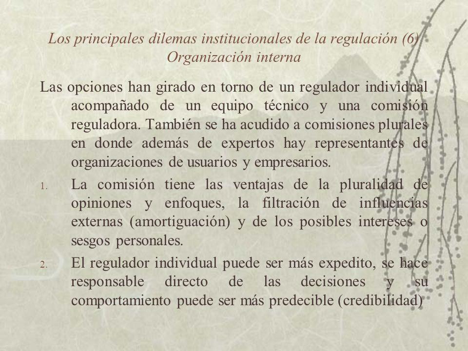 Los principales dilemas institucionales de la regulación (6) Organización interna