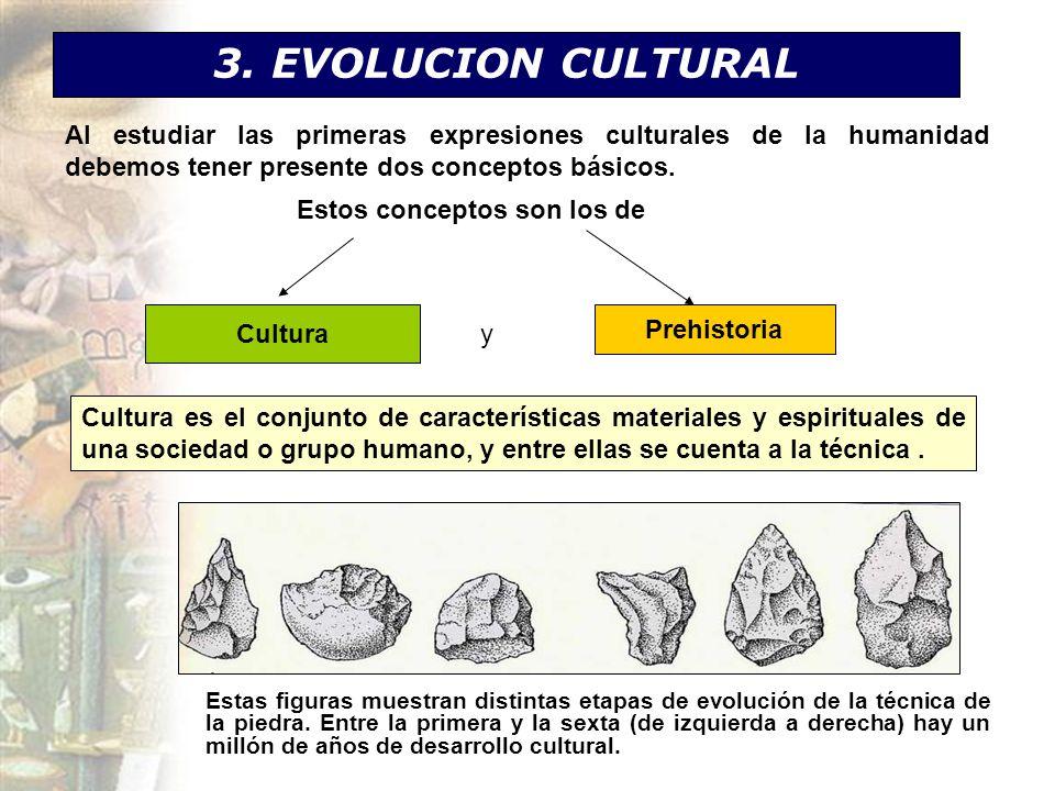 3. EVOLUCION CULTURAL Al estudiar las primeras expresiones culturales de la humanidad debemos tener presente dos conceptos básicos.