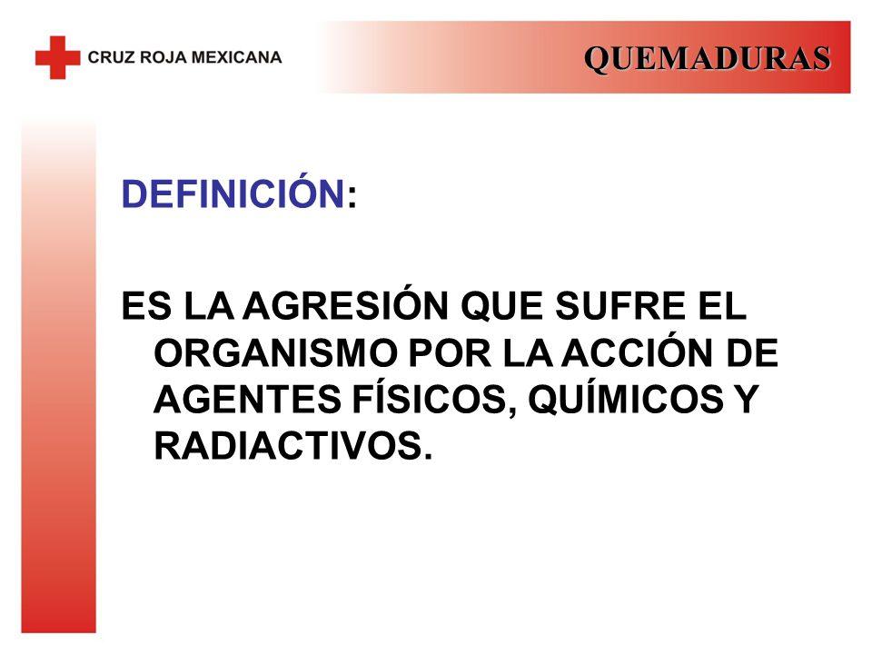 QUEMADURAS DEFINICIÓN: ES LA AGRESIÓN QUE SUFRE EL ORGANISMO POR LA ACCIÓN DE AGENTES FÍSICOS, QUÍMICOS Y RADIACTIVOS.