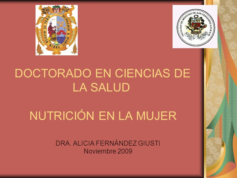 DOCTORADO EN CIENCIAS DE LA SALUD NUTRICIÓN EN LA MUJER