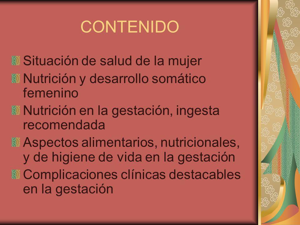 CONTENIDO Situación de salud de la mujer