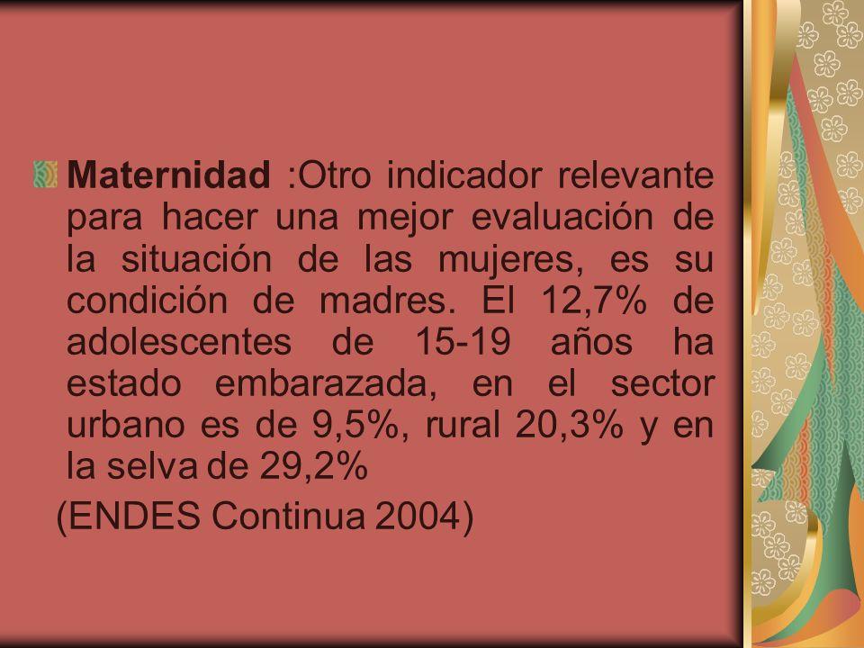 Maternidad :Otro indicador relevante para hacer una mejor evaluación de la situación de las mujeres, es su condición de madres. El 12,7% de adolescentes de 15-19 años ha estado embarazada, en el sector urbano es de 9,5%, rural 20,3% y en la selva de 29,2%