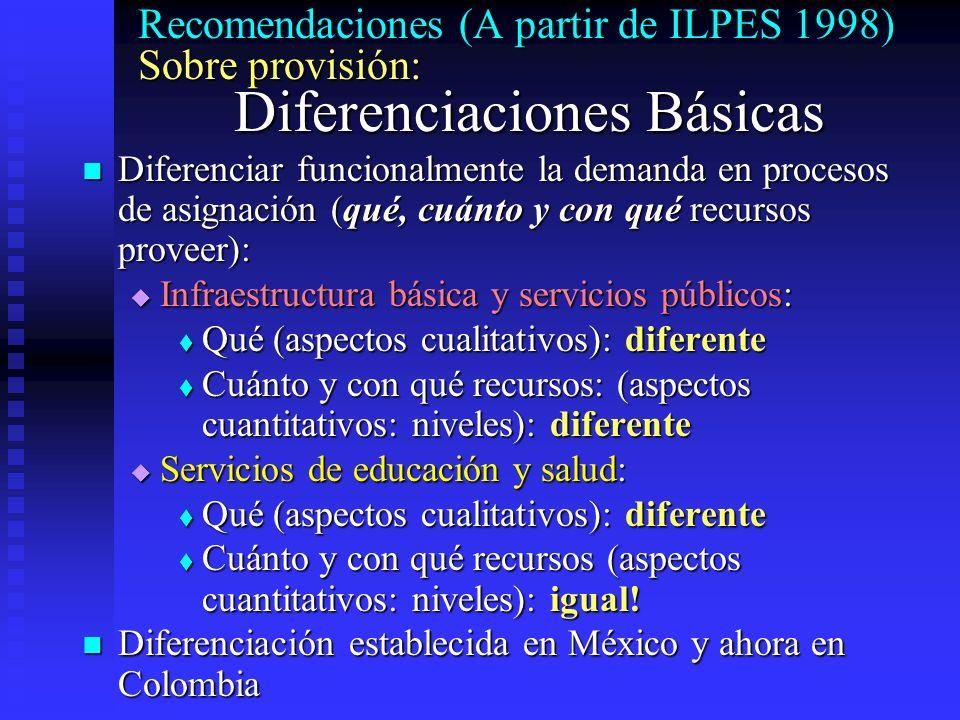 Recomendaciones (A partir de ILPES 1998) Sobre provisión: