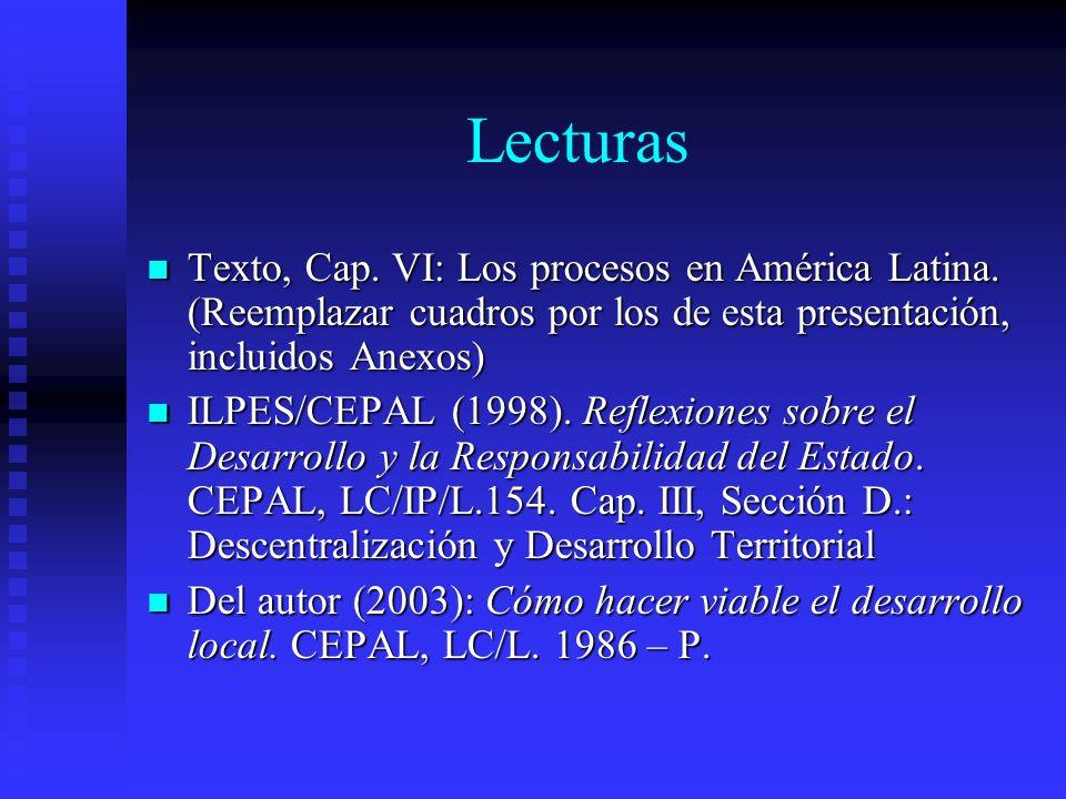 Lecturas Texto, Cap. VI: Los procesos en América Latina. (Reemplazar cuadros por los de esta presentación, incluidos Anexos)