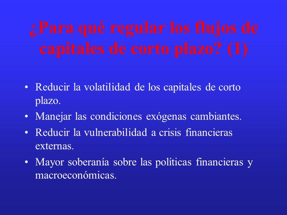 ¿Para qué regular los flujos de capitales de corto plazo (1)