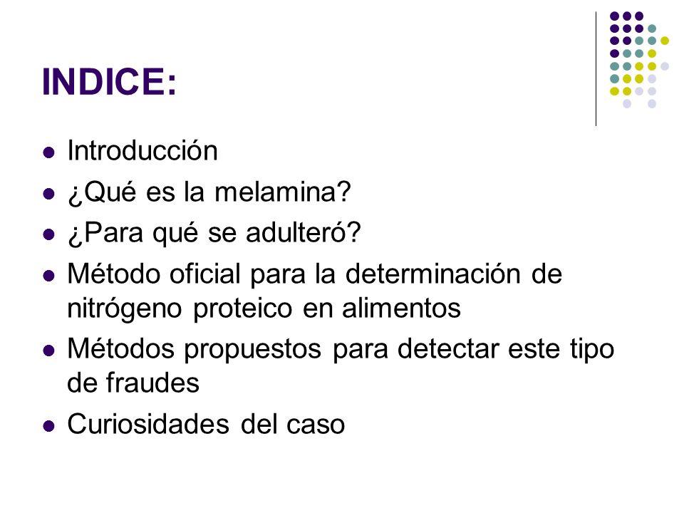 INDICE: Introducción ¿Qué es la melamina ¿Para qué se adulteró