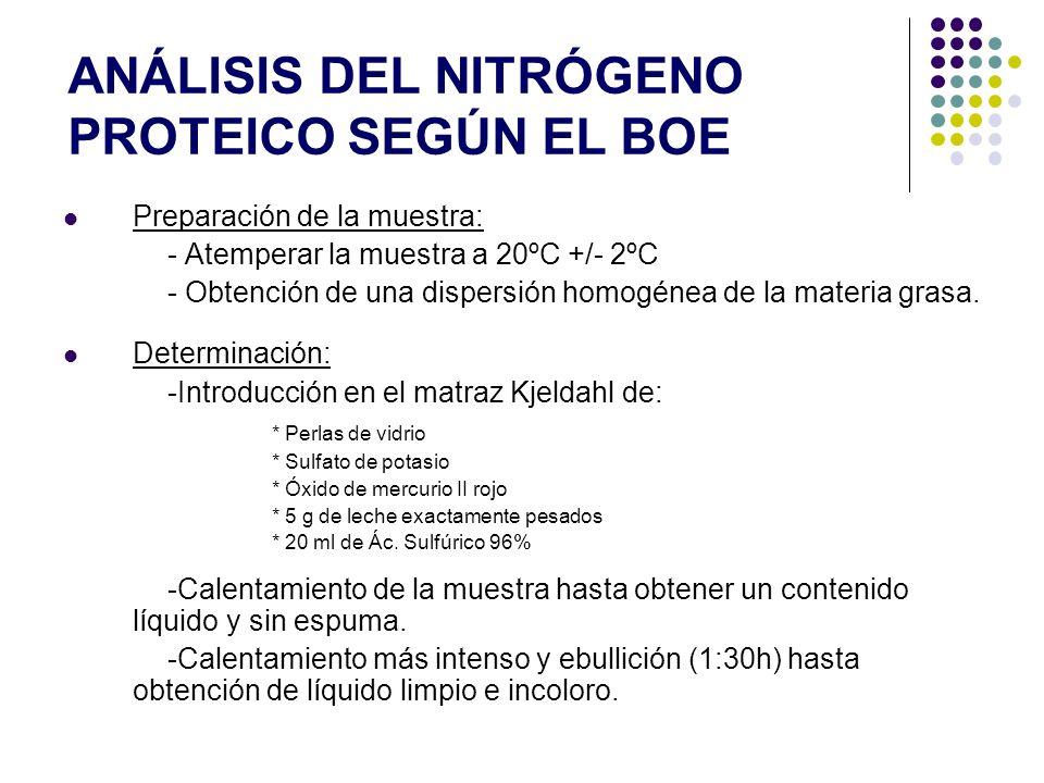 Análisis del nitrógeno proteico según el BOE