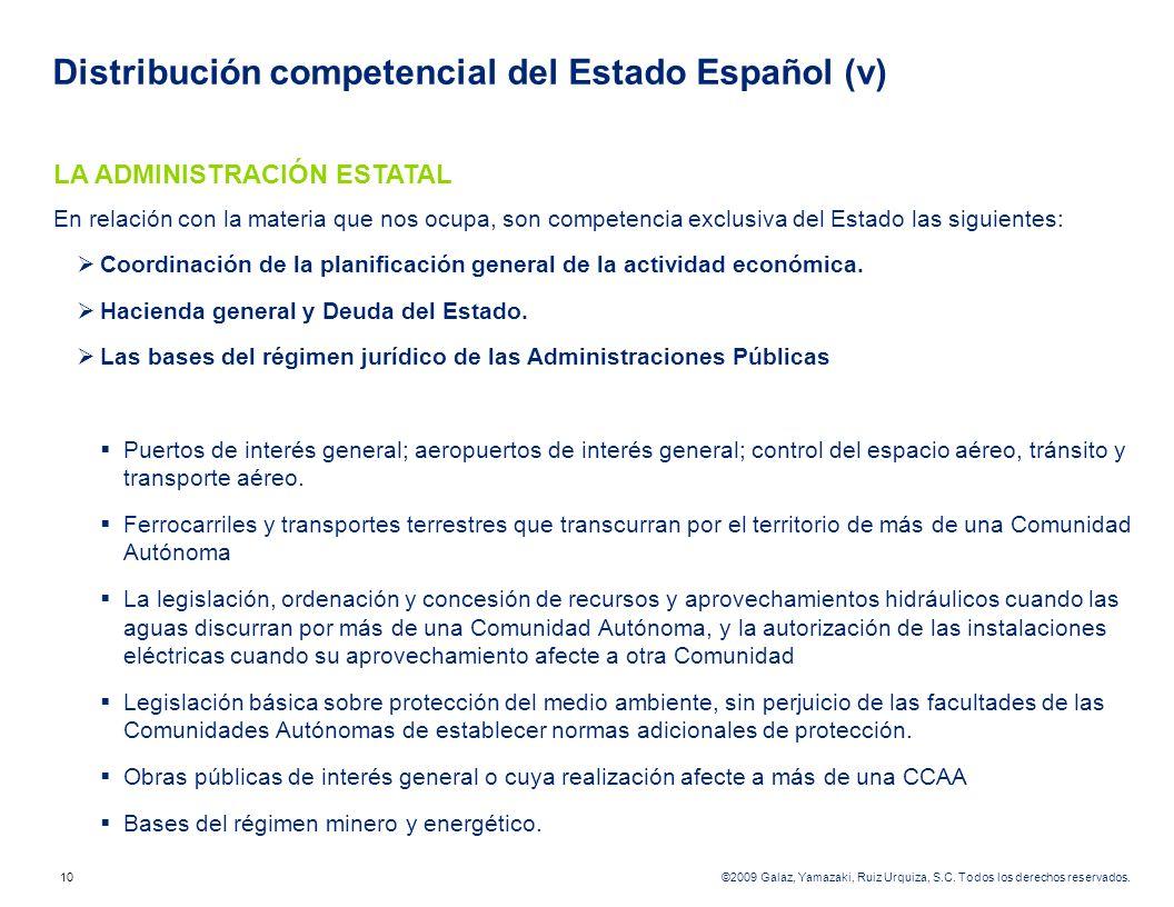 Distribución competencial del Estado Español (v)