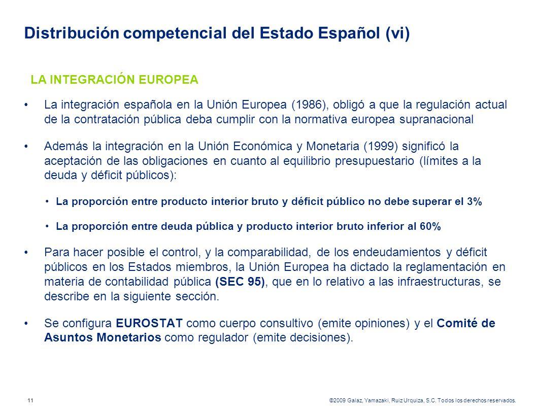 Distribución competencial del Estado Español (vi)