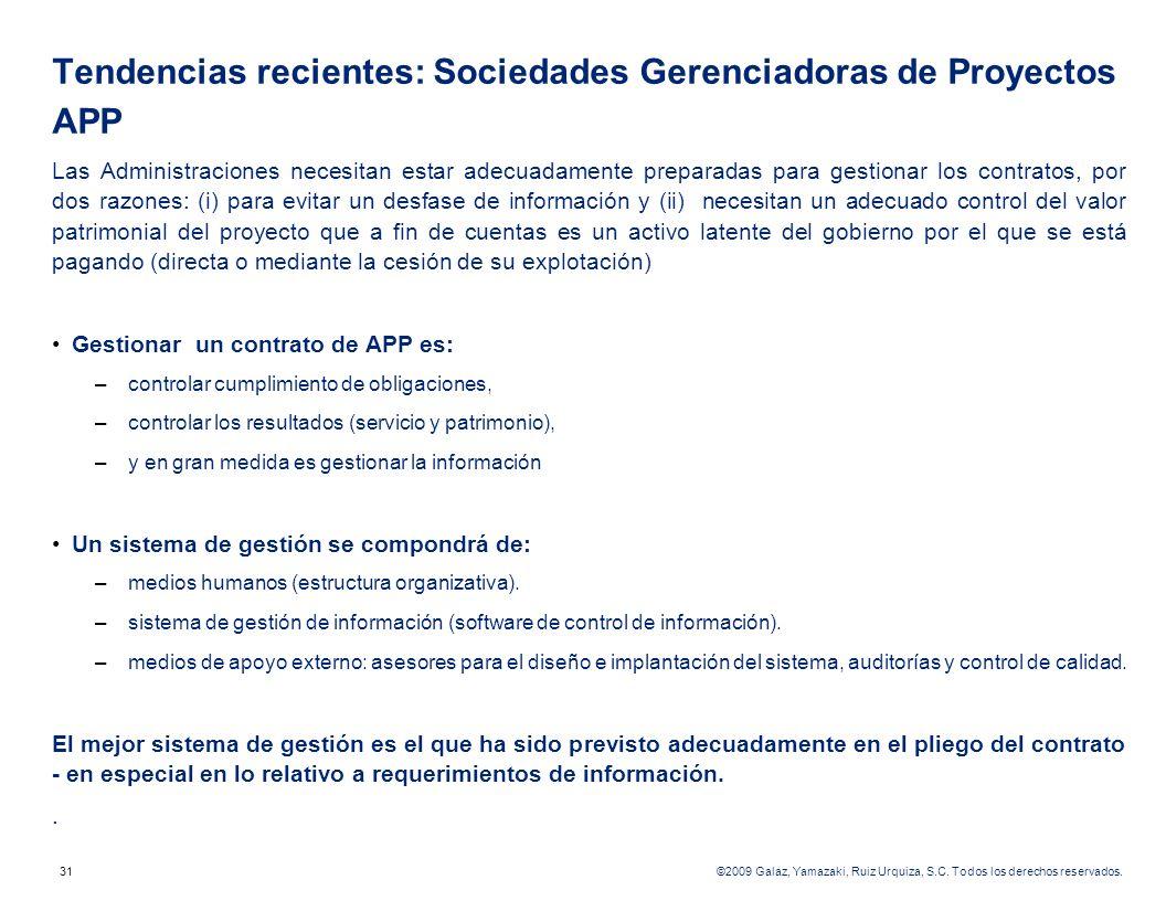 Tendencias recientes: Sociedades Gerenciadoras de Proyectos APP