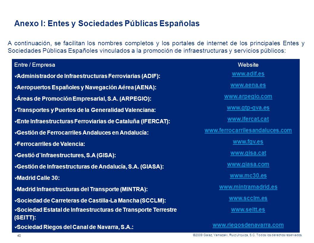 Anexo I: Entes y Sociedades Públicas Españolas