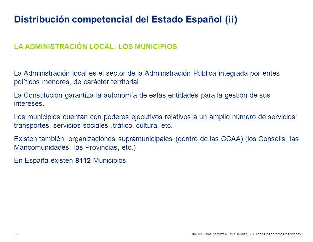 Distribución competencial del Estado Español (ii)