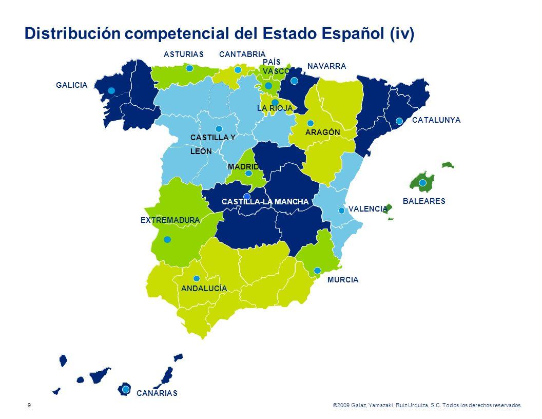 Distribución competencial del Estado Español (iv)