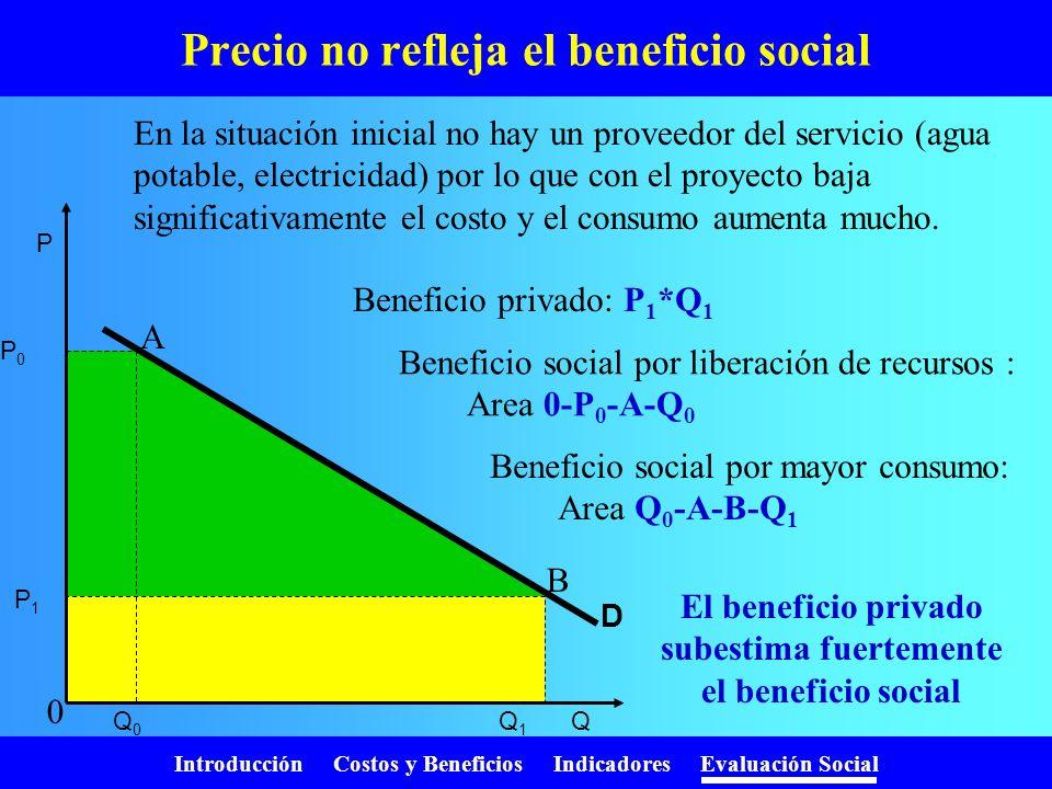 Precio no refleja el beneficio social