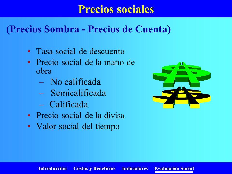 Precios sociales (Precios Sombra - Precios de Cuenta) No calificada