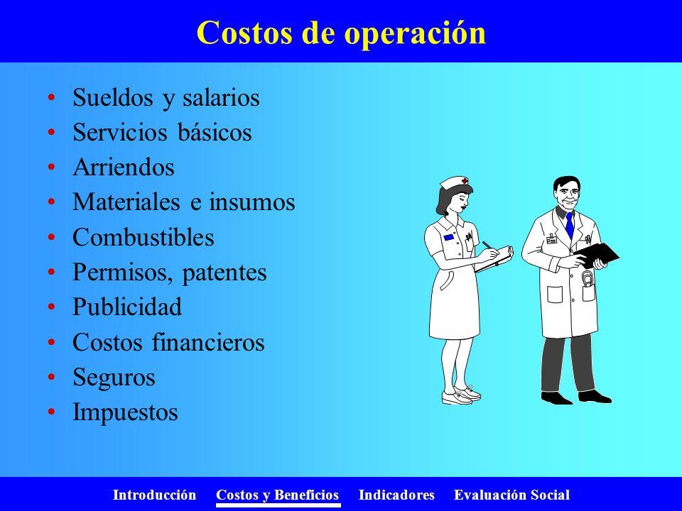 Costos de operación Sueldos y salarios Servicios básicos Arriendos