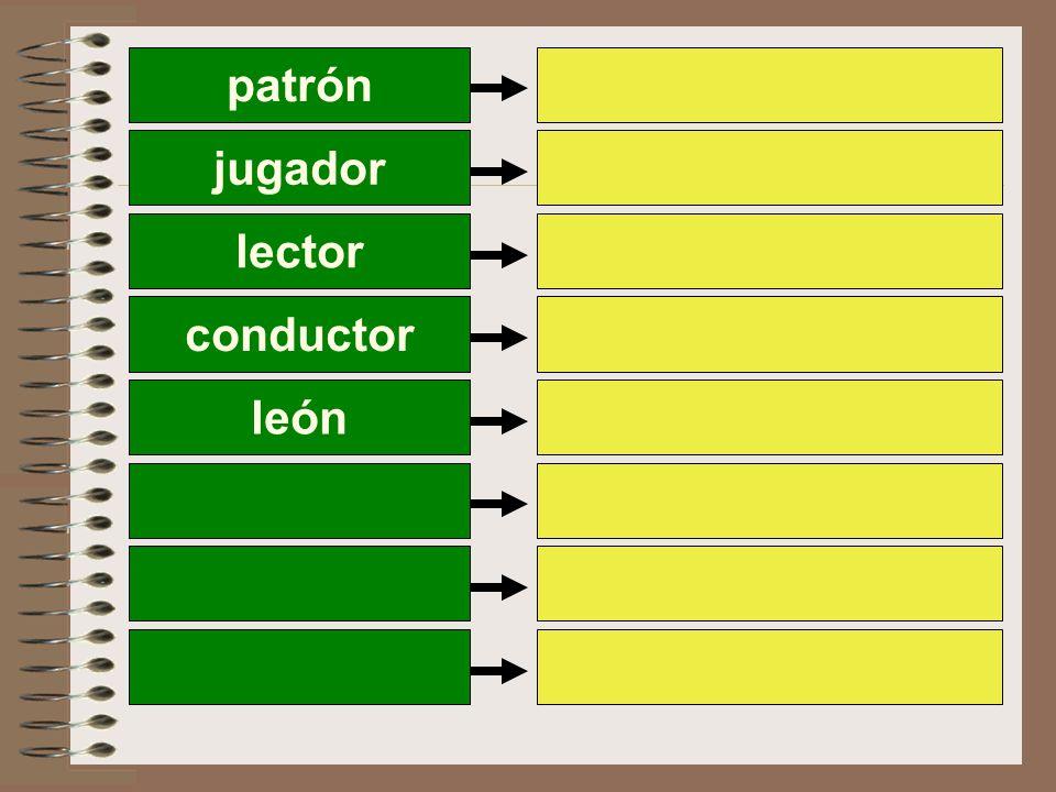 patrón jugador lector conductor león