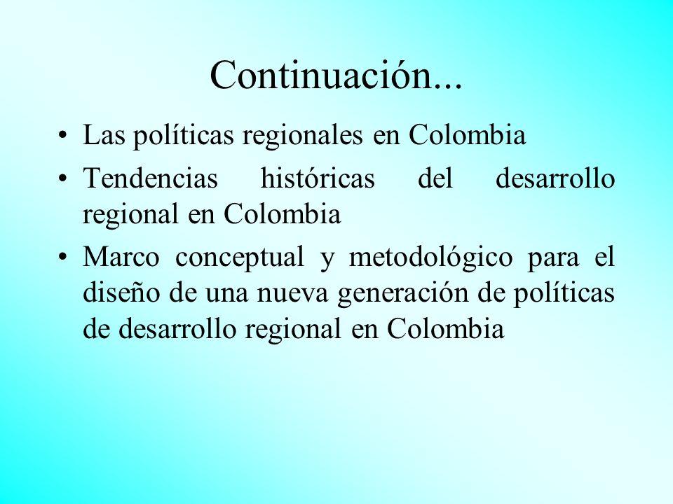 Continuación... Las políticas regionales en Colombia