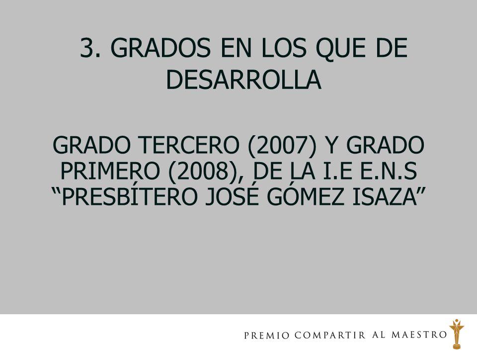 3. GRADOS EN LOS QUE DE DESARROLLA