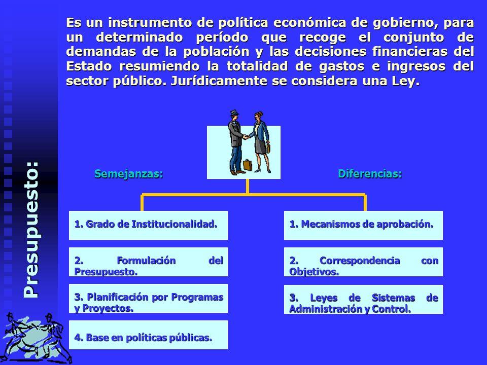 Es un instrumento de política económica de gobierno, para un determinado período que recoge el conjunto de demandas de la población y las decisiones financieras del Estado resumiendo la totalidad de gastos e ingresos del sector público. Jurídicamente se considera una Ley.