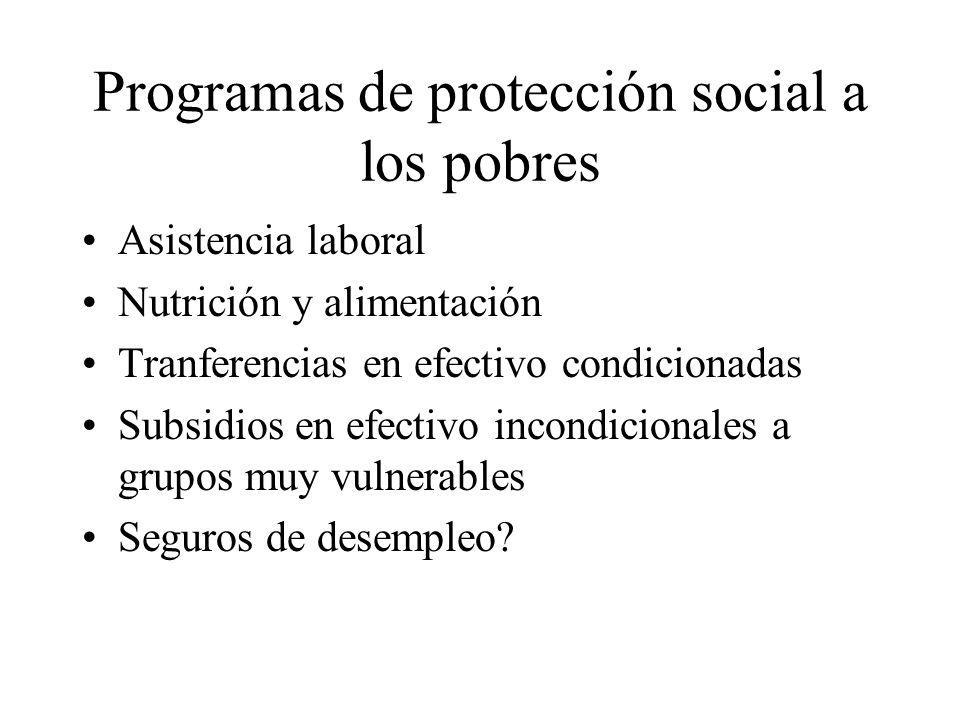 Programas de protección social a los pobres