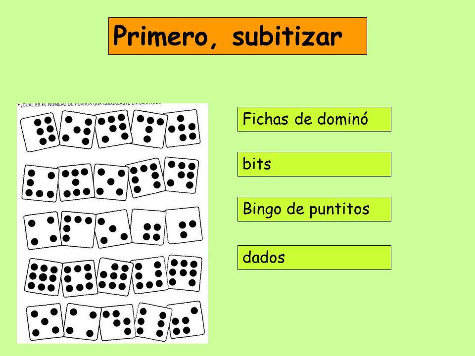 Primero, subitizar Fichas de dominó bits Bingo de puntitos dados