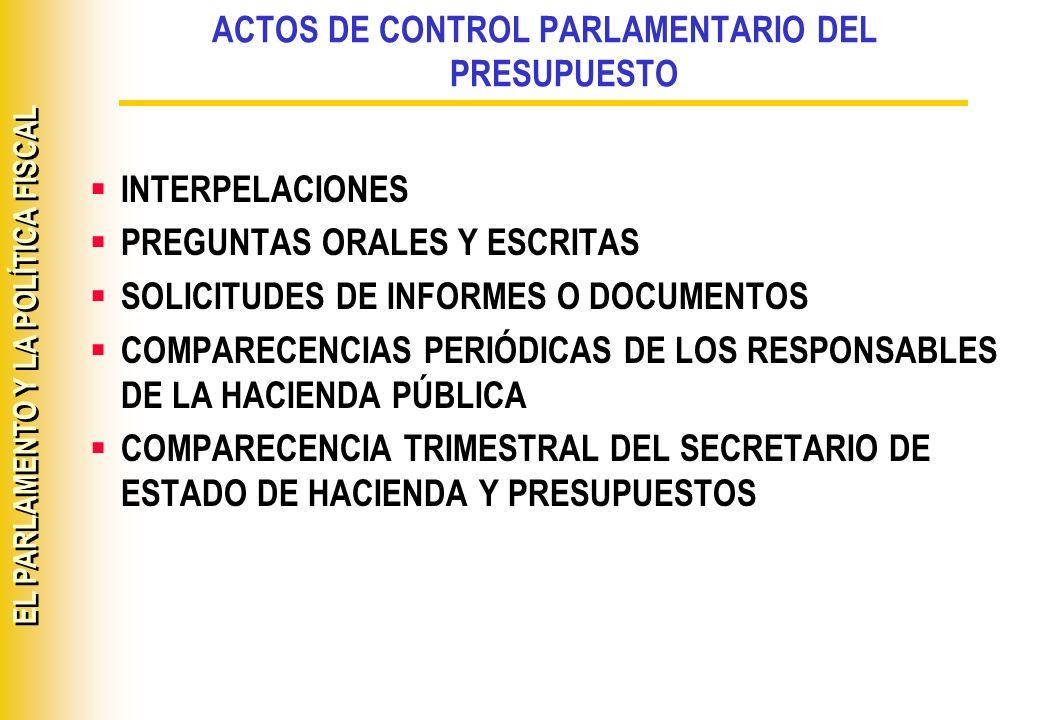 ACTOS DE CONTROL PARLAMENTARIO DEL PRESUPUESTO